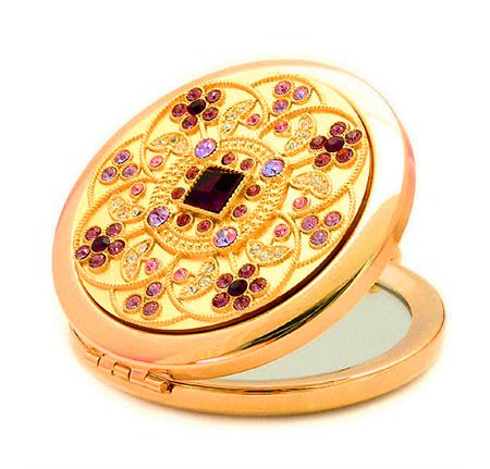 水晶化妆镜生产厂家 贴钻化妆镜 礼品化妆镜