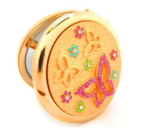 水晶化妆镜生产厂家 贴钻化妆镜 圆形化妆镜