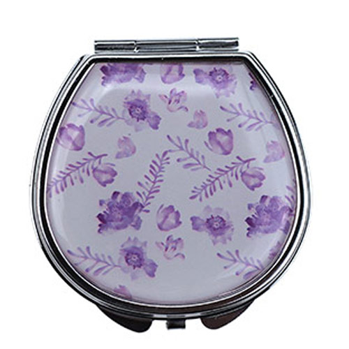 厂家定制竹叶图便携化妆镜 不锈铁滴胶简易化妆镜