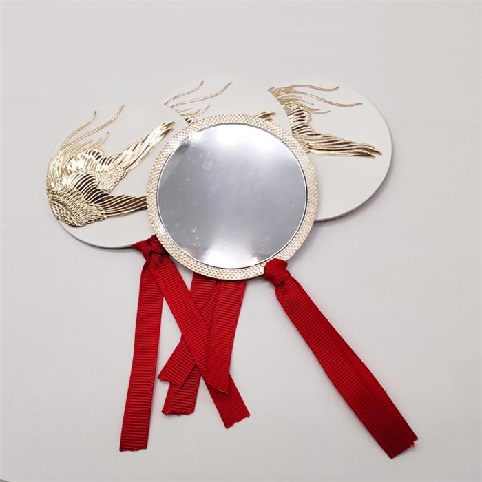 精美礼品单面镜 锌合金织带镜子 金属化妆镜
