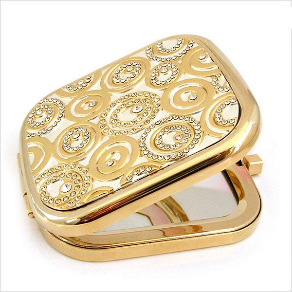 锌合金镶钻化妆镜  化妆镜镶钻   双面折叠化妆镜
