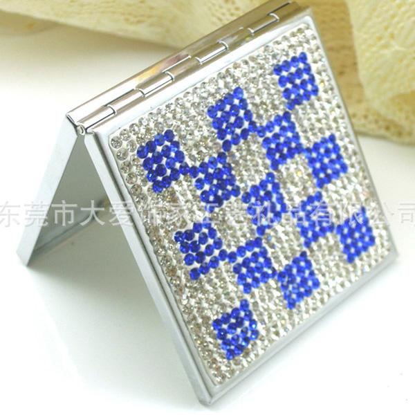 新款韩版方形镶钻化妆镜