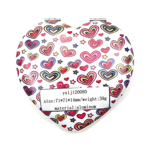爱心形广告促销铝化妆镜 金属环保折叠化妆镜