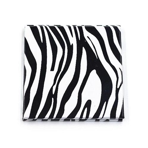 方形斑马纹广告促销铝化妆镜 双面环保折叠商务小镜子
