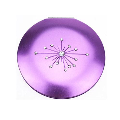 镶钻紫色广告促销铝化妆镜 金属工艺礼品镜