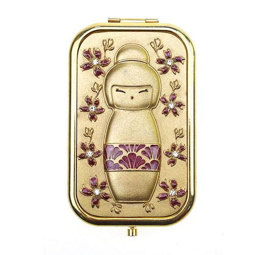 金色卡通金属礼品随身镜定制   出口环保金属小镜子