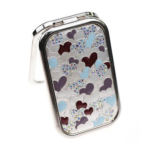 波浪纹镶钻 礼品随身镜生产   高档礼品小镜子