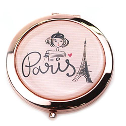 玫瑰金高档金属化妆镜  圆形双面环保镜厂家