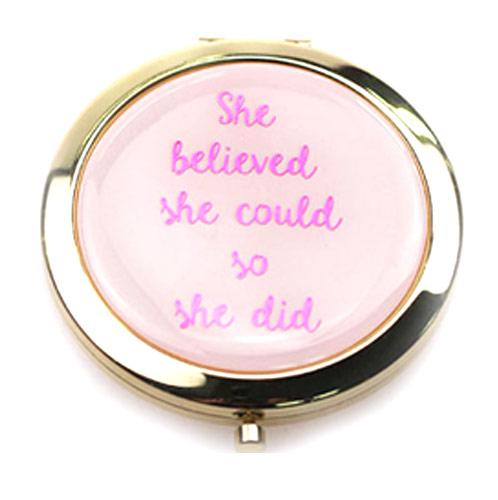 粉色高档折叠化妆镜  礼品随身镜工厂