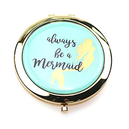 美人鱼随身化妆镜定制    出口双面锌合金小镜子