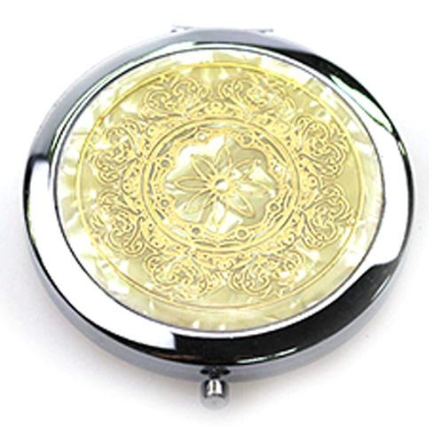 金色高档金属化妆镜 环保双面折叠镜