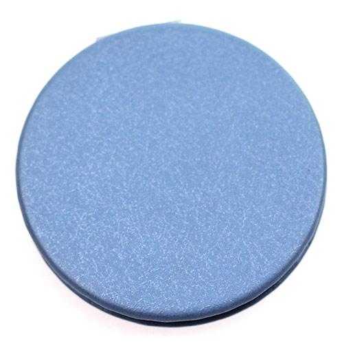 简洁蓝色圆形PU皮革化妆镜  便携礼品小镜子