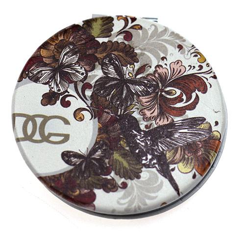 彩印PU皮革化妆镜 高清镀银便携镜