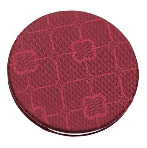红色PU便携化妆镜 简洁圆形双面镜