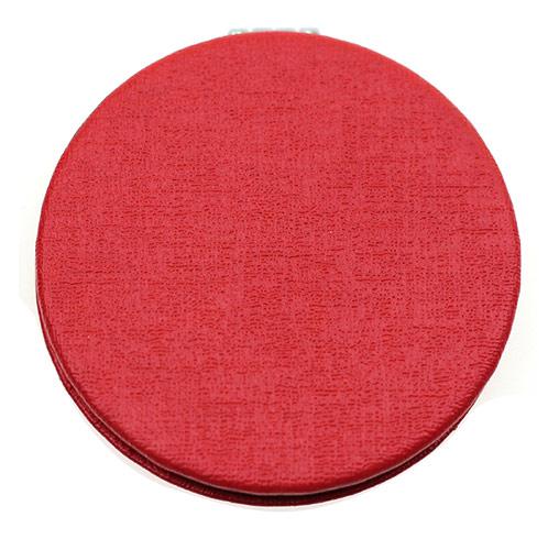 红色圆形PU皮革化妆镜 双面折叠礼品镜