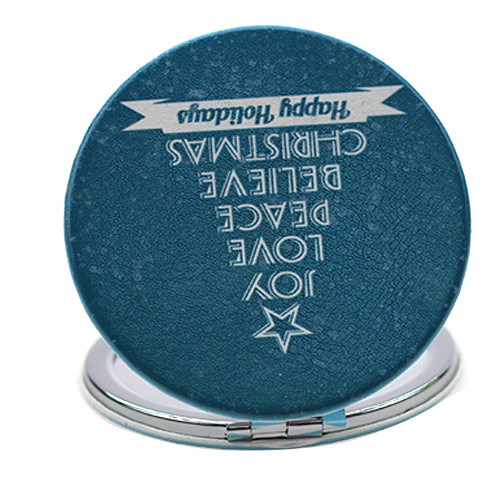 定制节日PU皮随身化妆镜  圣诞礼品小镜子