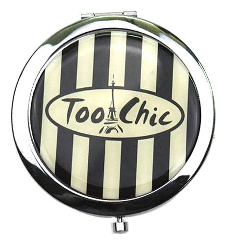 高档促销赠品随身化妆镜  条纹印刷滴胶礼品镜