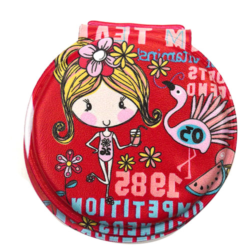 圆形促销礼品折叠化妆镜 红色双面卡通美容镜
