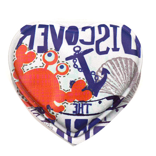 卡通心形促销礼品双面化妆镜  PU折叠镜定制