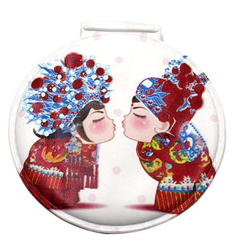婚庆PU皮化妆镜  圆形赠品礼品镜