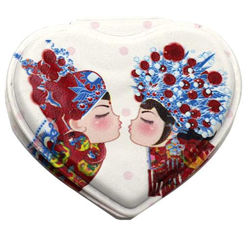 心形婚庆高档PU皮化妆镜  节日礼品镜便携镜