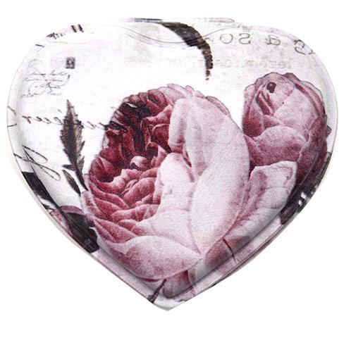 心形高档pu皮化妆镜 玫瑰便携随身礼品镜