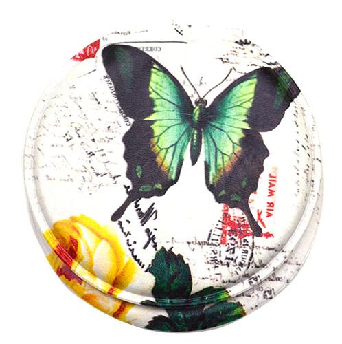 蝴蝶PU皮便携化妆镜 双面折叠礼品镜美容镜