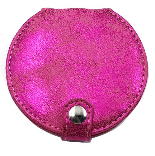 玫红圆形高档PU皮化妆镜  双面折叠礼品镜