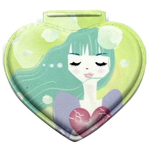 随身化妆镜定制 PU皮折叠镜 卡通礼品镜