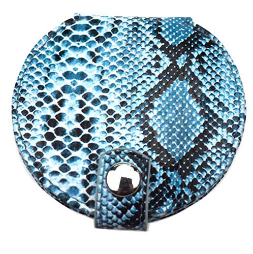 蛇纹圆形折叠化妆镜  高档pu皮化妆镜