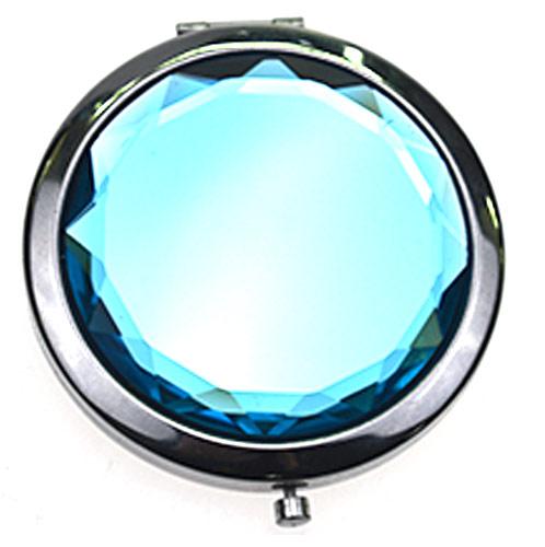 促销赠品折叠化妆镜 宝石蓝人造水晶化妆镜 周年庆礼品