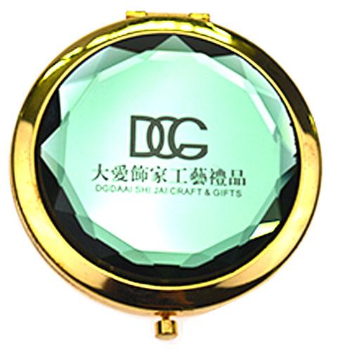 商务礼品折叠化妆镜 仿绿水晶小镜子 厂家定制