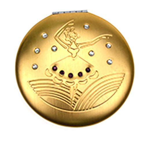促销礼品铝合金化妆镜 金色舞动便携镜 礼品镜厂家