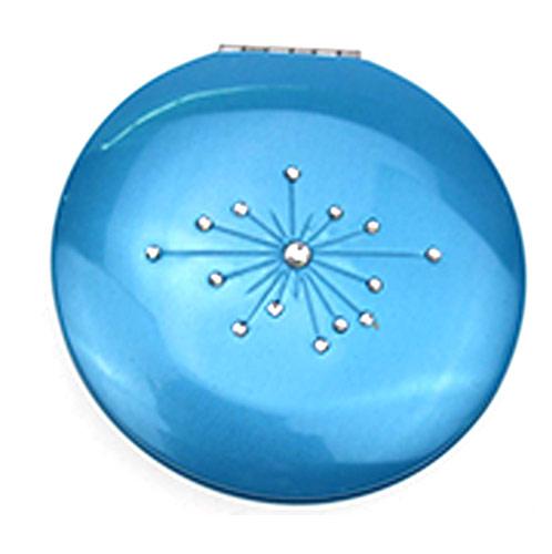 节日庆祝铝合金化妆镜 蓝色圆折叠镜 SGS环保镜