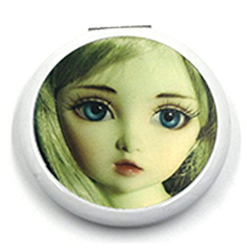 促销礼品铝合金化妆镜 动漫卡通白色铝圆镜