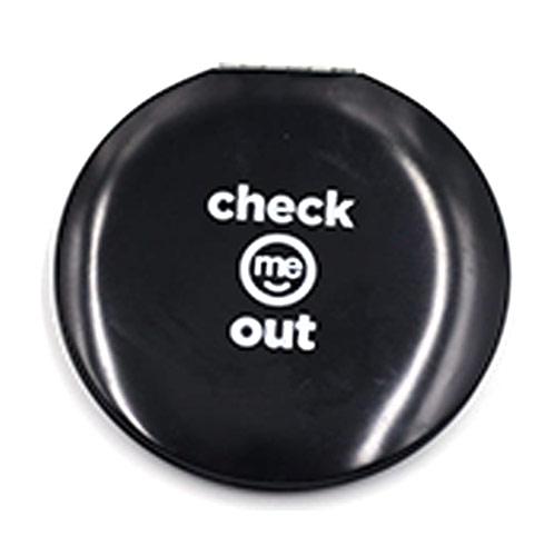 广告促销铝合金化妆镜 黑色丝印LOGO口袋镜