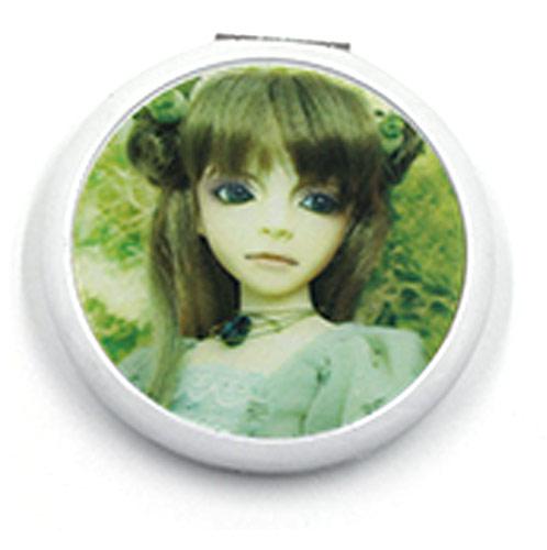 礼品随身镜工厂 白色铝质便携镜 品牌定制