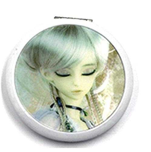 礼品随身镜定制 卡通少女铝质圆形镜 迷你小铝镜