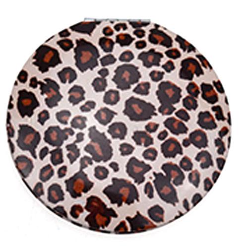 促销化妆镜定制 豹纹圆形铝质口袋镜