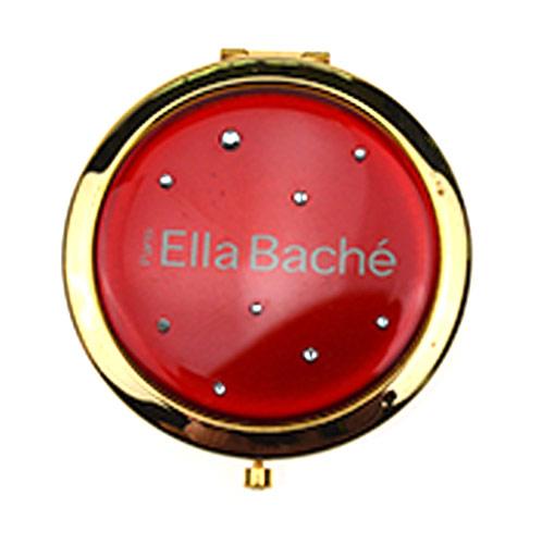 广告促销铝化妆镜 红色镶钻圆形金属镜