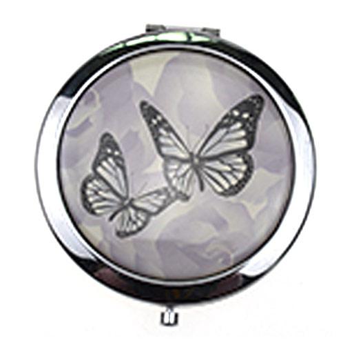 广告促销化妆镜 蝴蝶双飞不锈铁折叠镜