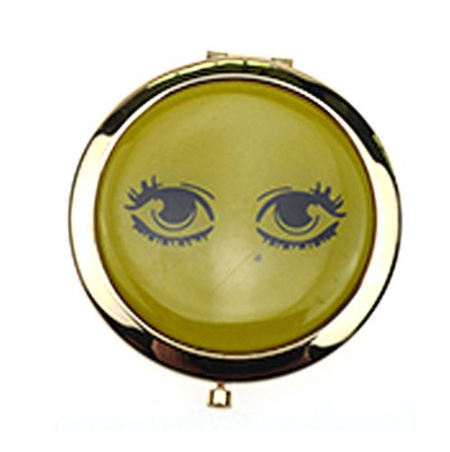 广告促销铝化妆镜 大眼睛金色圆形镜