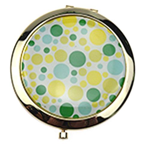 促销化妆镜工厂  多彩圆点不锈铁商务镜定制