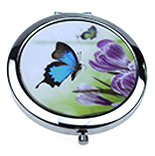 不锈铁随身化妆镜 蝴蝶起舞铁质金属小镜子