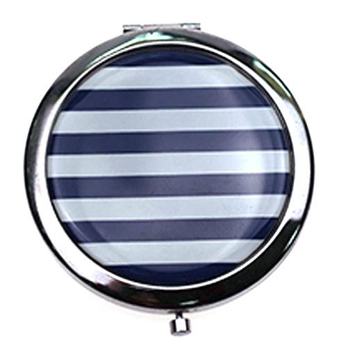 不锈铁折叠化妆镜 黑白纹滴胶金属礼品镜