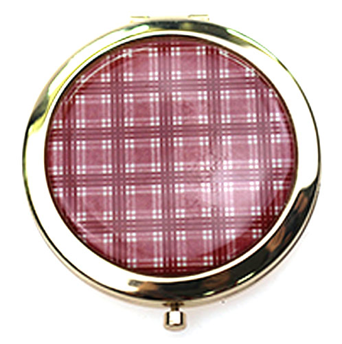 细格纹不锈铁化妆镜  商务赠品随身化妆镜