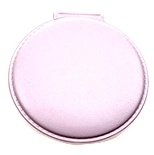 粉色圆形pu皮化妆镜  便携可爱公主镜随身小镜子