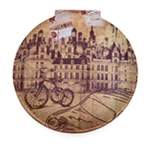 欧式复古化妆镜  PU皮革圆形化妆镜