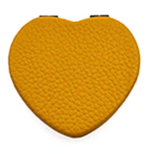 桔黄心形PU随身镜  便携双面折叠小镜子