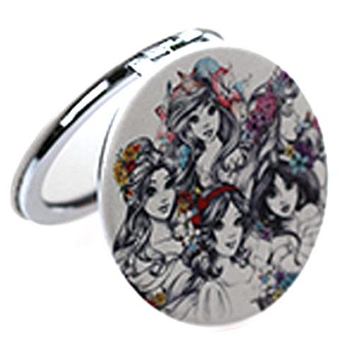 卡通公主pu皮化妆镜 随身折叠圆形小镜子厂家